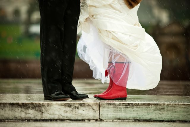 Elegant-Washington-DC-Winter-Blizzard-Wedding-Bride-Red-Wellies-Rain-Boots
